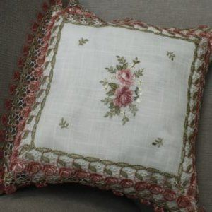 NEW Cushion Cover only SHABBY CHIC ROSE LACE